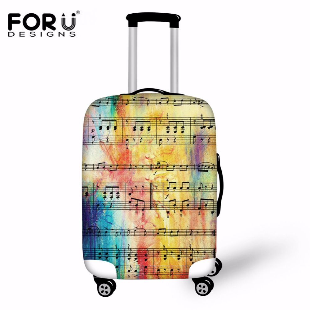 FORUDESIGNS Elastic Luggage Protective Cover Trolley Suitcase Protect Dust Bag Case Rainbow Sheet Music Print Travel Accessories