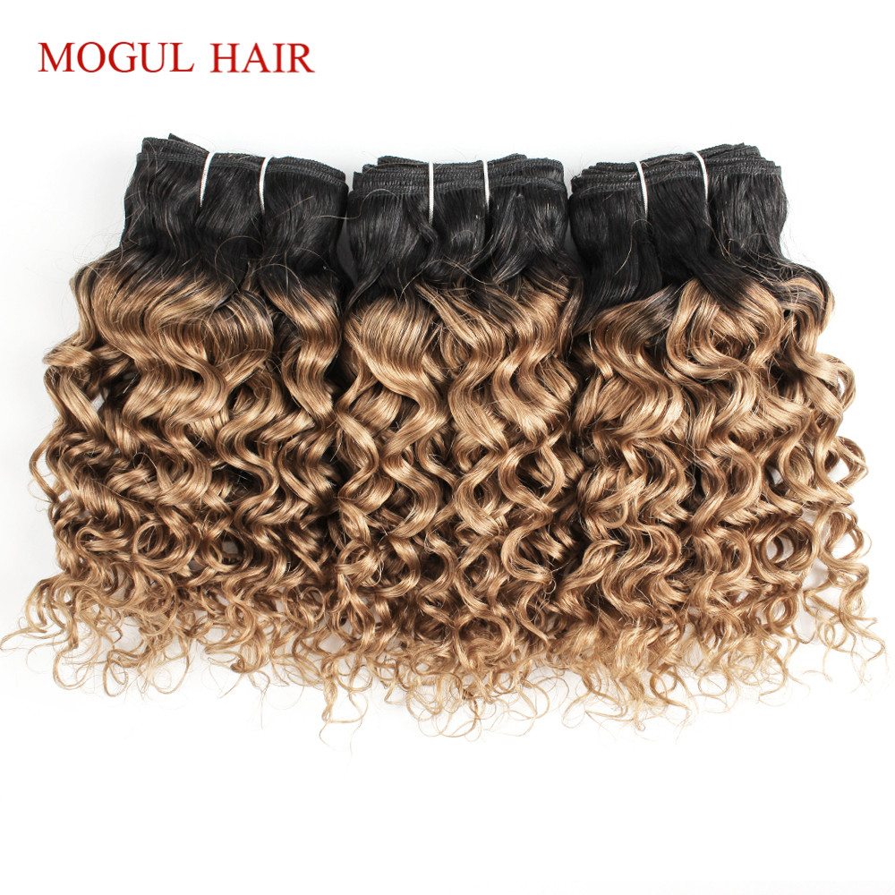 MOGUL HAIR Honey-Blonde Water-Wave 4-Bundles Ombre 1b-27-Dark-Root Brazilian Short Bob-Style