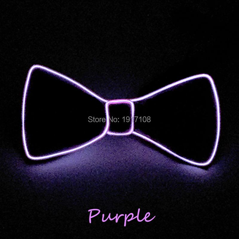 New Style DC-3V Sound Activated 10 Color Optional Light Up EL Bow Tie LED Neon Light For Night Wedding Party Decoration