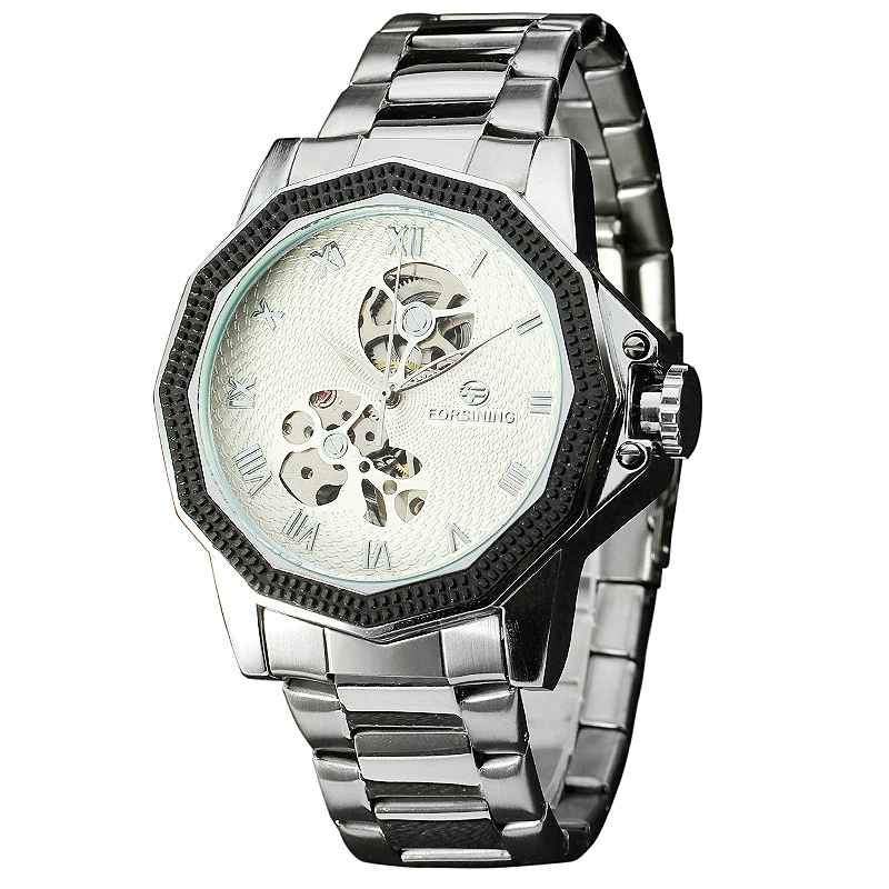 FORSINING Mens Automatic Mechanical Watches Top Luxury Male Skeleton Wristwatches Stainless Steel Band Imported Movement +BOX