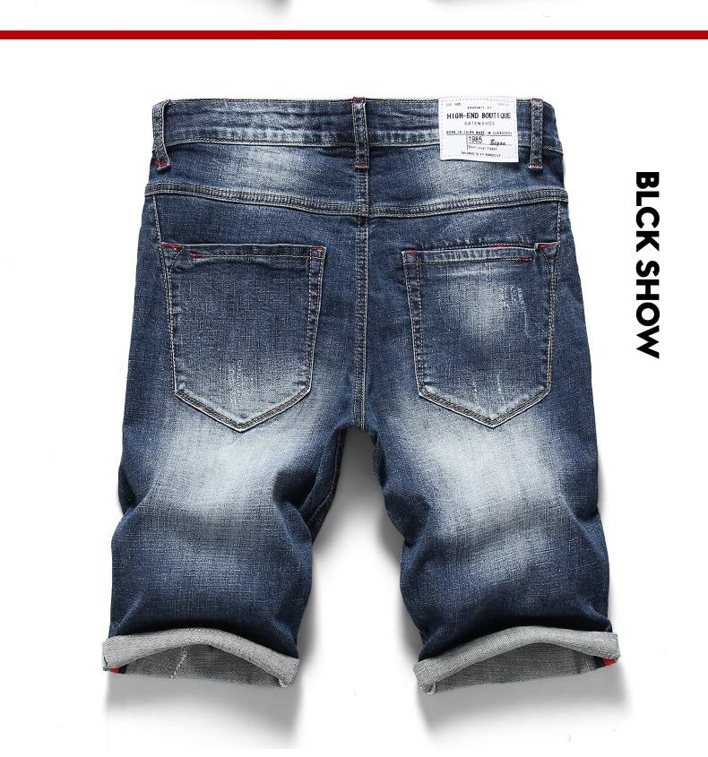 KSTUN 2019 Summer New Men's Stretch Short Jeans Fashion Pockets Casual Slim Fit High Quality Denim