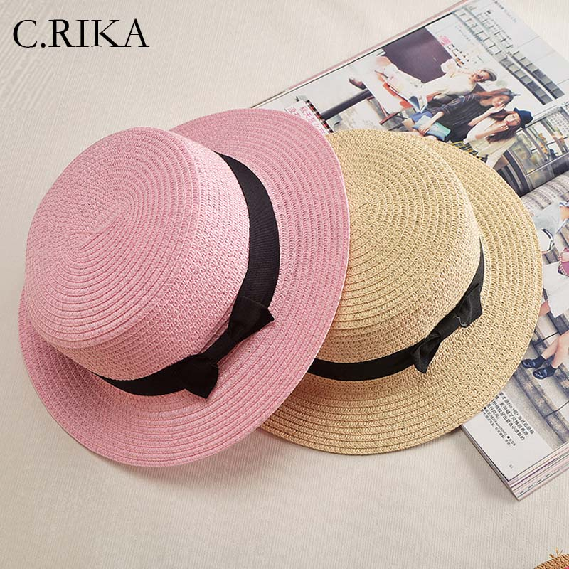 Jtc Child Girls Bowknot Bowler Hat Caps Round Top Straw Hat Pink