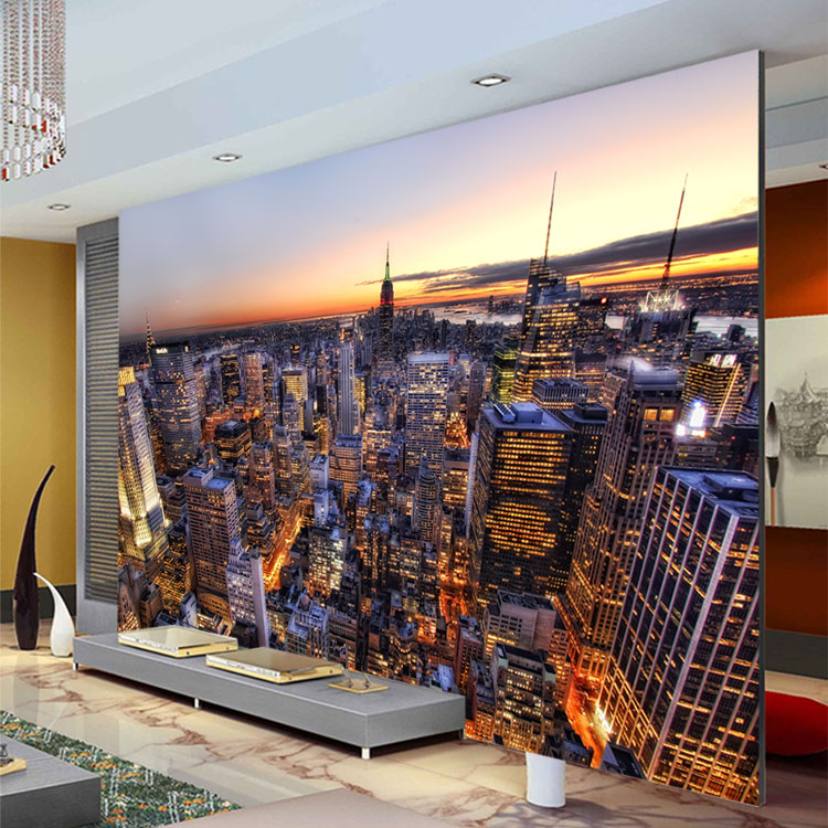 Buy manhattan city night wallpaper modern for 3d interior wall murals