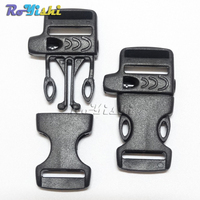 1000pcs/pack 5/8(15mm) Emergency Side Release Whistle Buckles For Paracord Bracelet Black