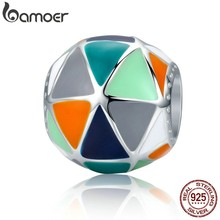 BAMOER Fashion New 925 Sterling Silver Art Geometric Triangle Enamel Charms Beads fit Women Bracelets Bangles Jewelry SCC304(China)