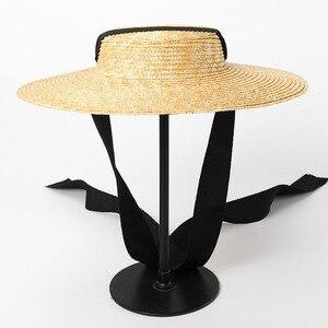 Image 2 - רחב ברים מגבעת כובע 10cm 15cm אפס מקום קש כובע שטוח נשים קיץ קנטאקי דרבי כובע לבן שחור סרט עניבת שמש כובע חוף כובע