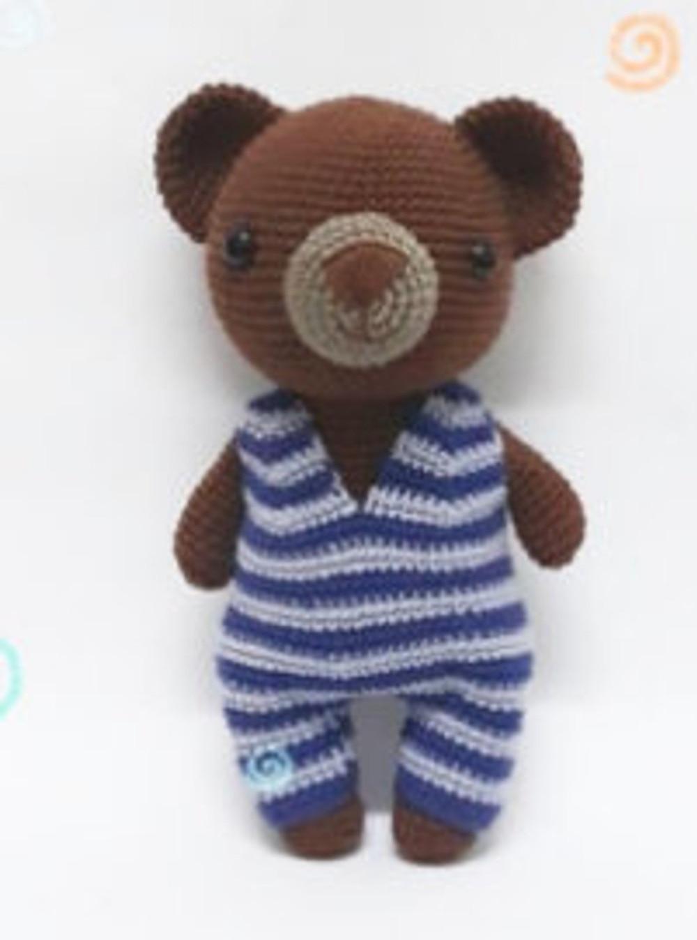 Crochet Toys  Amigurumi  Rattle  Fashion Doll B  Bear Umber  SQ0015