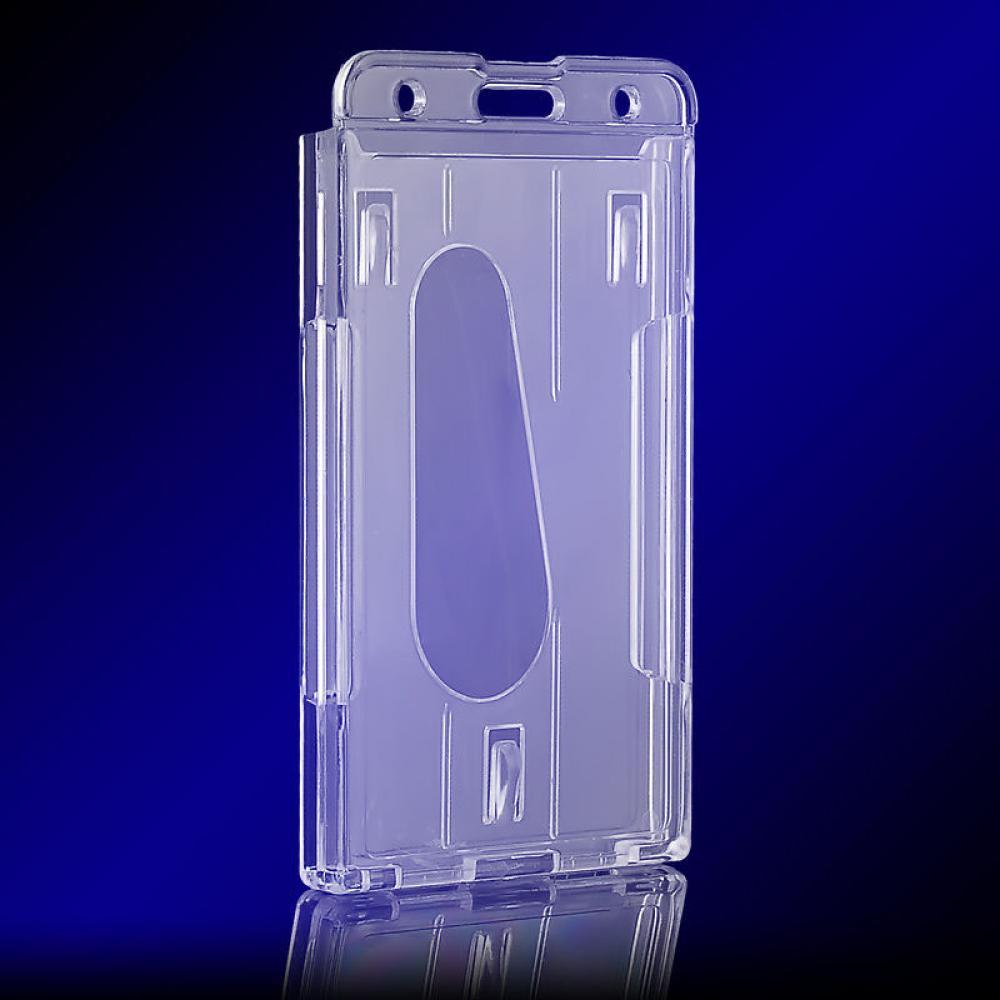 1pc Useful Design Double Card Acrylic Plastic ID Badge Card Holder Card Case Business Case