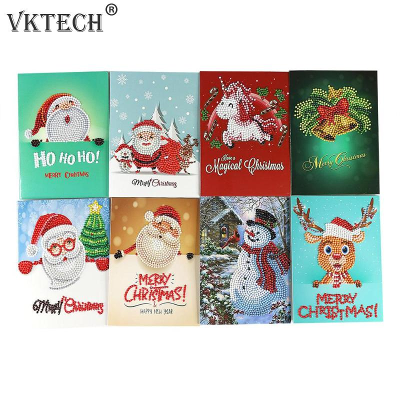 Cartões do natal DIY 5D Ferramentas de Pintura Diamante Set Ano Novo Presente de Natal Cartão Postal Cartão de Natal Decoração do Ponto da Cruz do Bordado