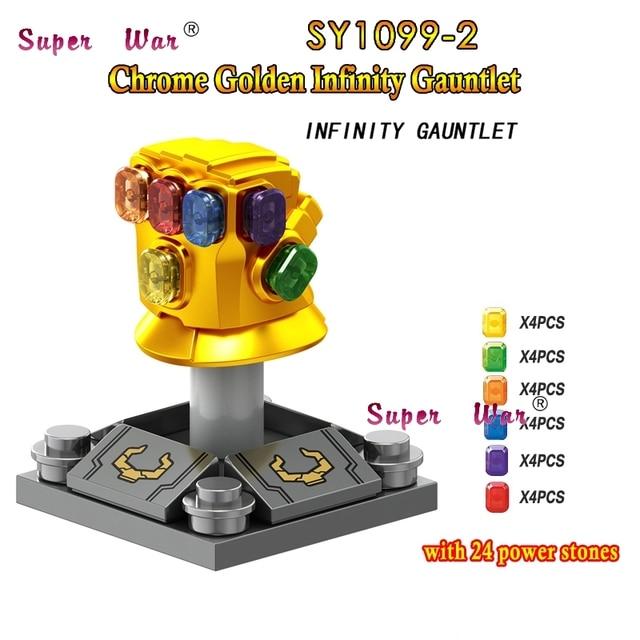 Único Marvel Avengers 3 Infinito Guerra Thanos Infinity Gauntlet SY1099-2 com 24 pcs gemas building blocks brinquedos para crianças