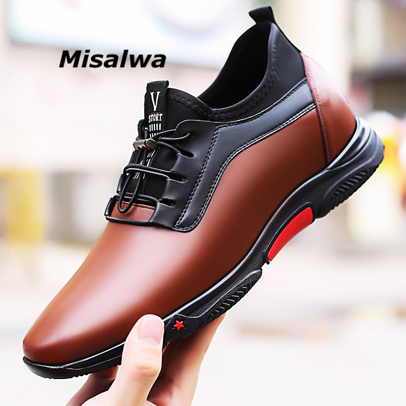 Misalwa 2019 Fashion Sneakers Men Luxury Platform Elevator Shoes Brown Leather Elastic Band Casual Height Increasing 5-7 CM Shoe(China)