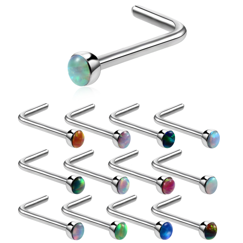 1PC 20G Steel Opal Stone Nose Rings L Shape Neuspiercing Opal Nose Earring Piercings Nose Stud Rings Sexy Body Jewelry Piercings