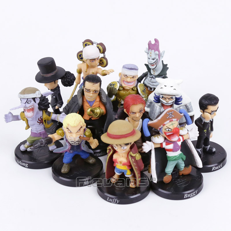 Anime One Piece 12pcs/set Luffy Sabo Shanks Lucci Crocodile Moria Buggy Enel PVC Figures Collectible Model Toys 5cm anime one piece mini pvc figures toys 10pcs set luffy ace boa hankokku dracule mihawk doflamingo kuma teach jinbe moria edward