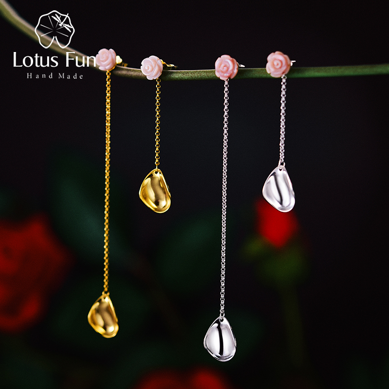 Lotus Fun Real 925 Sterling Silver Handmade Designer Fine Jewelry Sea Shell Delicate Rose Petals Uneven Drop Earrings for Women pair of delicate shell decorated hoop earrings for women