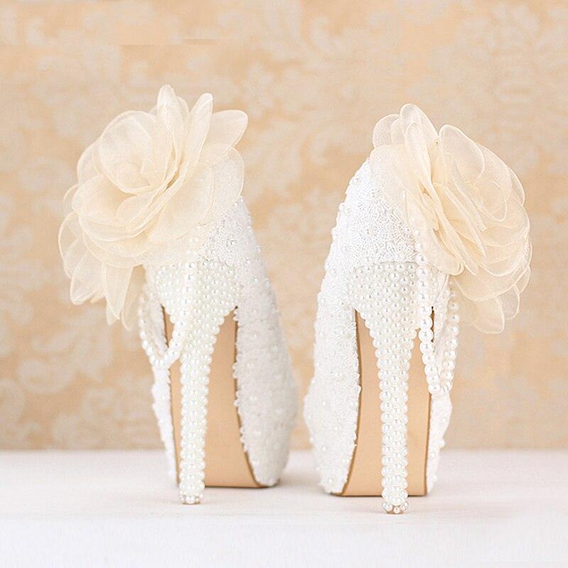 Heels De 14cm 2018 Populaire white Heels Personnalisée Blanche 12cm forme Robe Douceur Pompes Bal White 8cm Dentelle Mariée Chaussures Parti Demoiselle Plate D'honneur 10cm Mariage garSaxtw