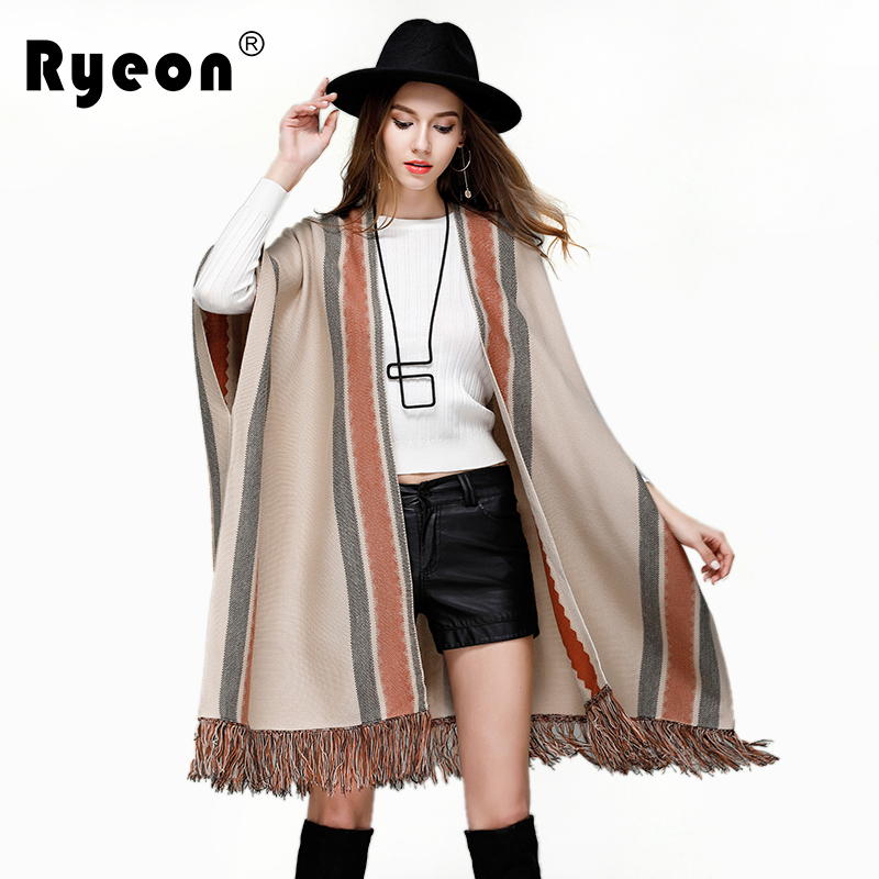 Ryeon Ponchos and Capes Women Cardigans Autumn Winter Spring Striped Fringe Bottom Loose Casual Fashion Sweater Women Cardigans ...