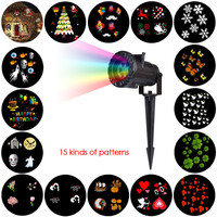 LED Wireless Control Outdoor Projector Christmas Halloween Wedding Party Theme Pattern 15 Various Slides Waterproof Projection