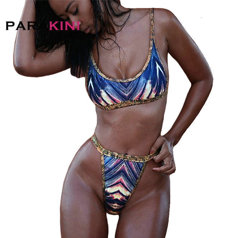 PARAKINI 2018 Brazilian Women Bikinis Set Sexy Thong Swimwear High Waist Swimsuit African Printing Swimming Bathing Suit Biquini 1