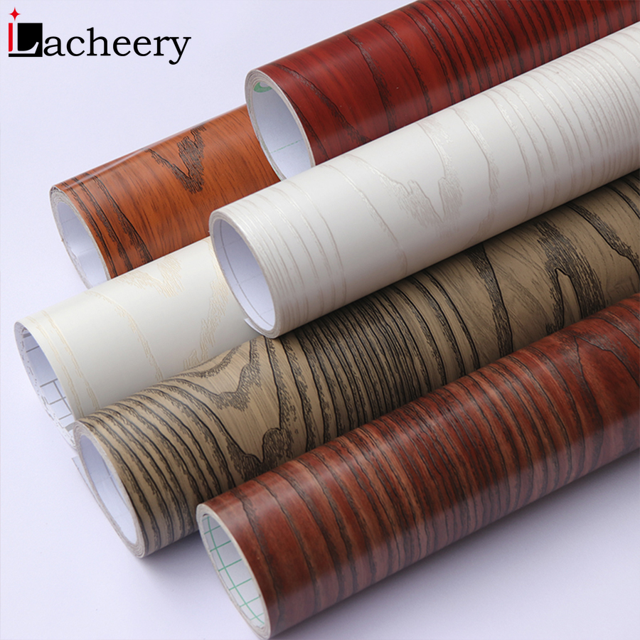 Hot Sale Wood Grain Living Room Floor Wall Background Decor Vinyl Wallpaper Self Adhesive Furniture Wardrobe Table Door Stickers