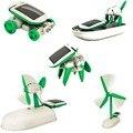 В Наличии! 6 в 1 Солнечной DIY Образования Комплект Игрушка Лодка Вентилятора Автомобиля Робот Мельница Щенок Смарт