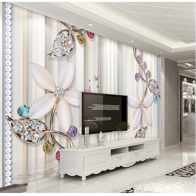 Wall Murals Custom Size Photo Background Wallpapers Color Flower Vertical  Jewelry Wall Covering BedRoom Modern WallPaper