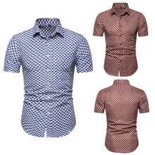 Mens Summer Dot Blouse Casual Slim Short Sleeve Printed Shirts Top Camisas estampadas