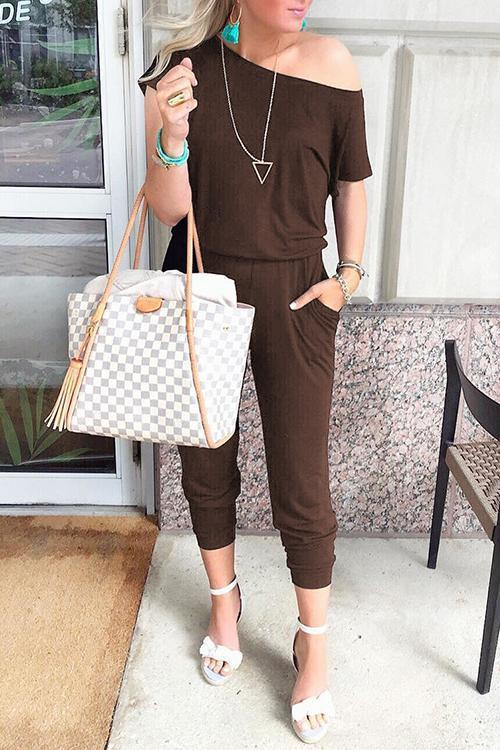 Solid Casual Sexy Off Shoulder Short Sleeve Women Suit 2019 New Arrival Women Summer Fashion Slim Elegant Long Rompers Female 25