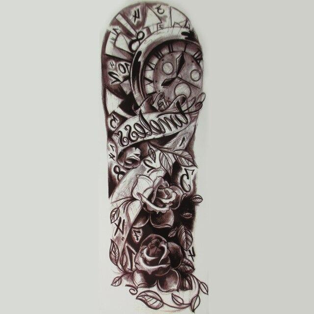 Horloge Et Rose Plein Bras Autocollants De Tatouage Grande Fleur D