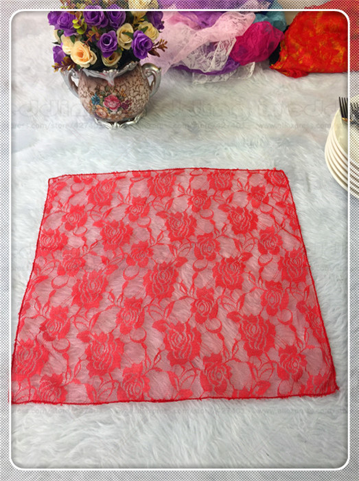 100pcs Lace Fabric Napkin Table Cloth Chair Sashes Cover Flowers Home Hotel Dinner Party Wedding (Factory Direct Sale)