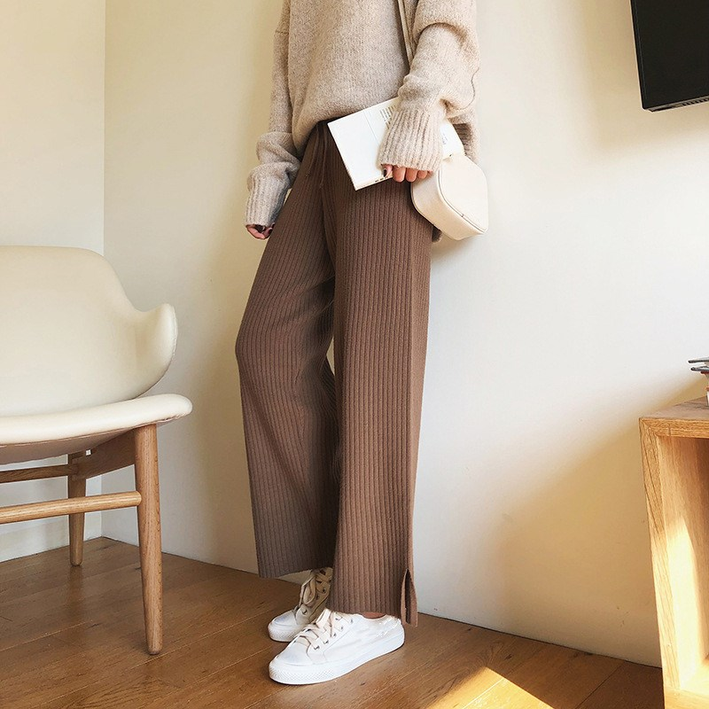 New Autumn Winter Jersey Knit   Wide     Leg     Pants   Solid Women High Waist Casual Sweatpants Korean Loose Harajuku Trousers