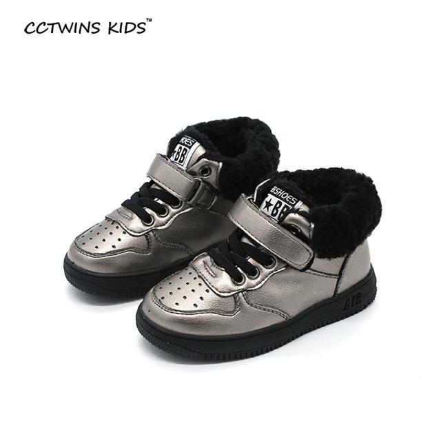 CCTWINS CRIANÇAS outono inverno meninas da moda sapatos casuais crianças tênis de couro genuíno para o bebê boys high top sneakers preto