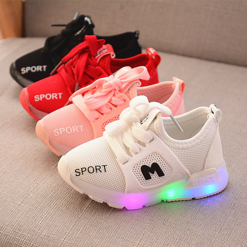 Toddler Kids Baby Boy Girs Led Light Shoes Boys Soft Luminous Casual Sport Shoes