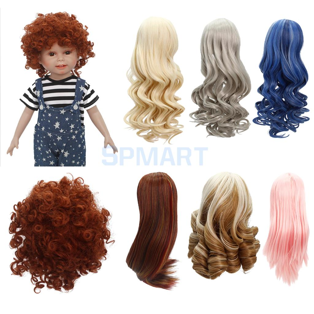 Middle Parting Curly/Straight Hair Wig Hairpiece Hairstyle for 18'' American Girl Dolls DIY Making Accessory 45cm long curly sweet lolita ponytail extension hairpiece wig dark brown