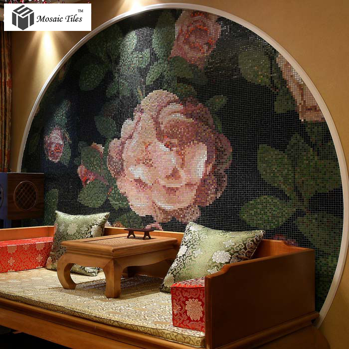 Classic Bisazza Rose Pattern Crystal Glass Material