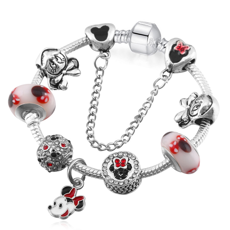 Vogue Romantic Bracelets Mickey Minnie Charms Beads European Bracelets Murano Chamrs Cartoon Bracelets DIY Jewelry 16-22cm