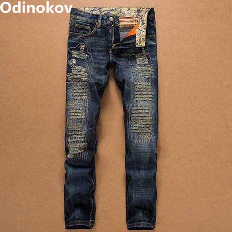 ФОТО Odinokov Brand 2017 Ripped Jeans For Men Light Blue Color  Denim Biker Jeans Mens Pants Sexy Mens Jeans Moto Jeans Men
