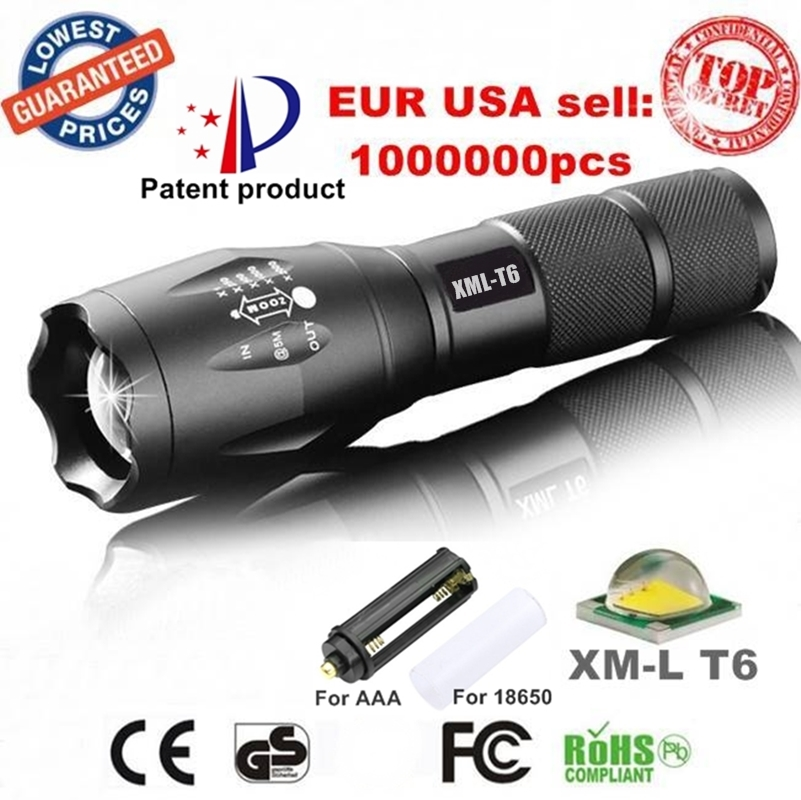 Alonefire e17 xm l t6 3800lm aluminum waterproof zoomable cree led flashlight torch light for 18650