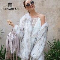 FURSARCAR 2018 Winter Women's Real Fur Coats Genuine Leather Raccoon Fur Female Jacket Fashion Style Natural Raccoon Fur Coat