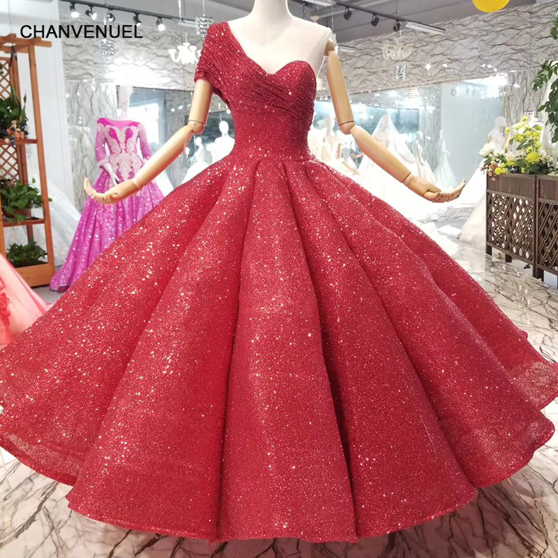 LSS074 ankle length shiny red wedding party dresses sexy one shoulder princess girl ball gown evening dresses 2018 with glitter