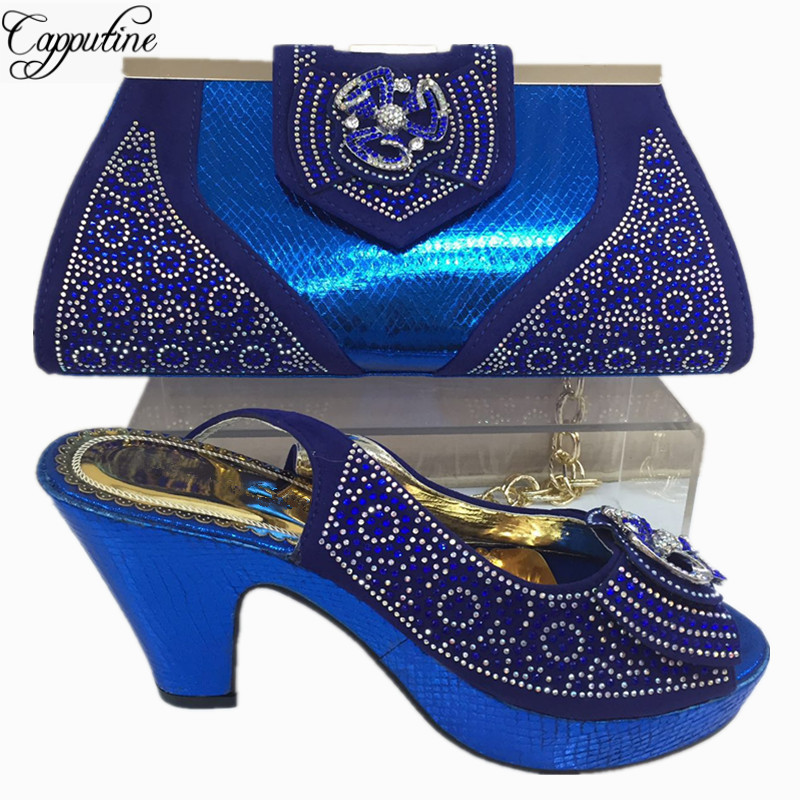 Capputine New Arrival Italian Blue Color Shoes And Bag Set Fashion African Ladies High Heels Shoes And Bag Set For Party BL355C capputine new fashion shoes and bag set for party usage new italian high heels ladies teal color shoes and bag set bch 40