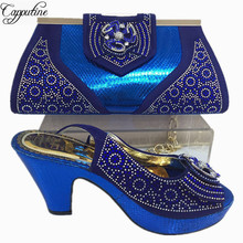 Capputine New Arrival Italian Blue Color Shoes And Bag Set Fashion African Ladies High Heels Shoes And Bag Set For Party BL355C