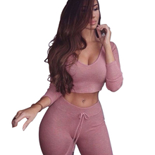 gagaopt 2016 sexy two piece set women long pants and crop top hooded hoodie tracksuit pink v-neck knitted fashion set
