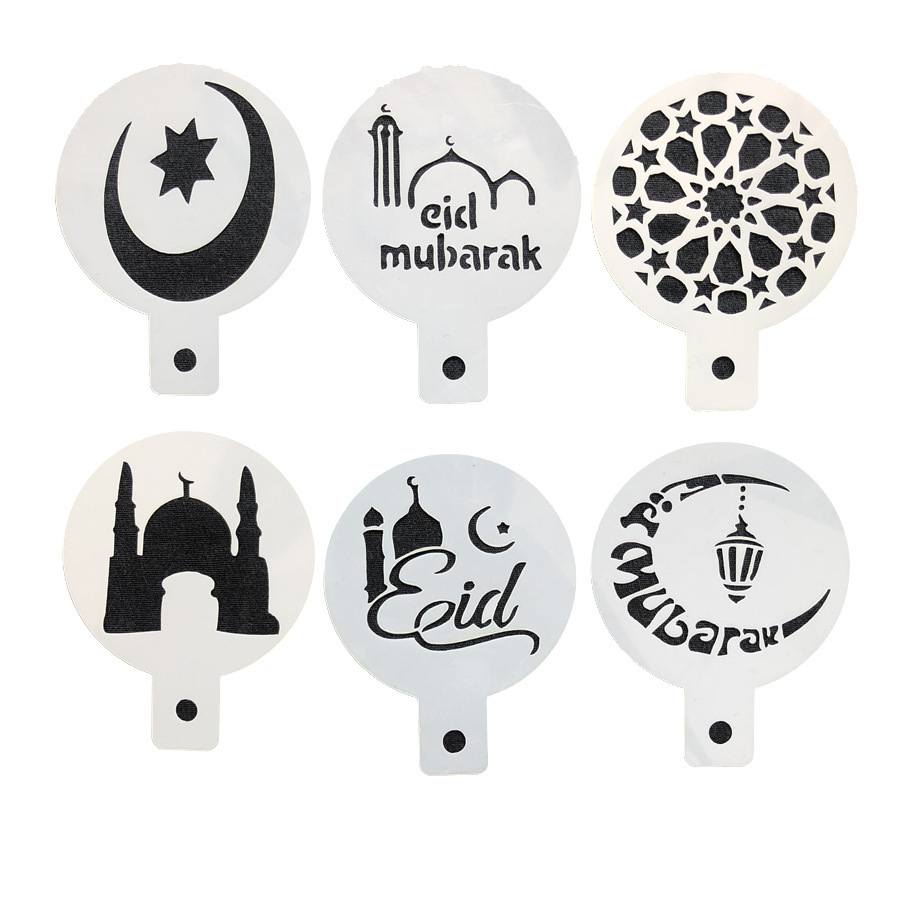 NEW 6pcs/set PET Mosque Eid Mubarak Ramadan Design Coffee Stencils,laser  cut cookie Biscuits fondant cake mold Ramadan supplies