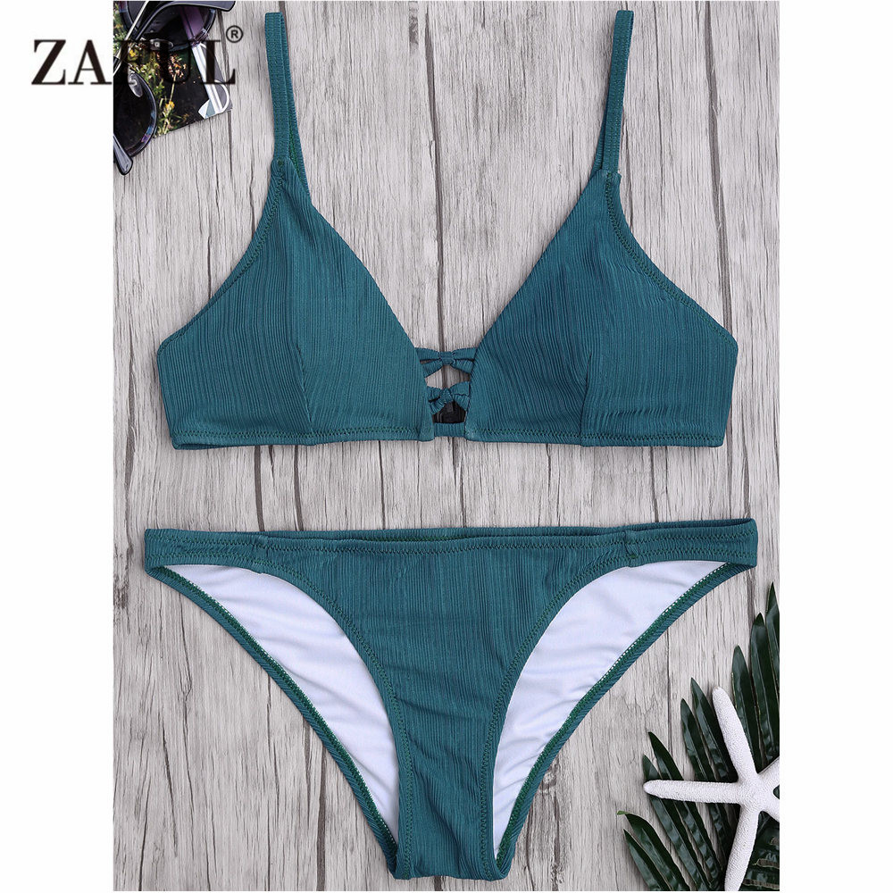 Zaful Bikini 2018 New Criss Cross Swimsuit Women Spaghetti Strap Texture Swimsuit Mid Waisted Solid Color Bathing Suit Biquni все цены