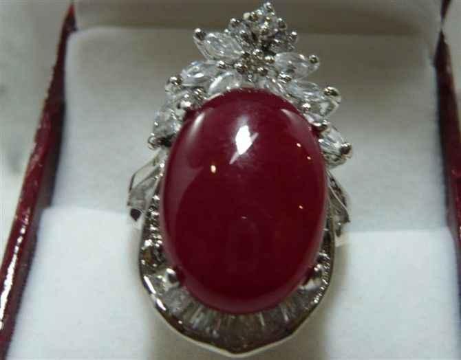 จัดส่งฟรี>>>@@ของผู้หญิงlatstes Vogueแดงหยกแหวนขนาด: 7-9 #