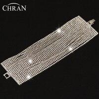 Shiny New Clear Wide Bridal Wedding Bracelet Bangle Multi Layer Rhinestone Crystal Chain Bracelet Perfect Wedding