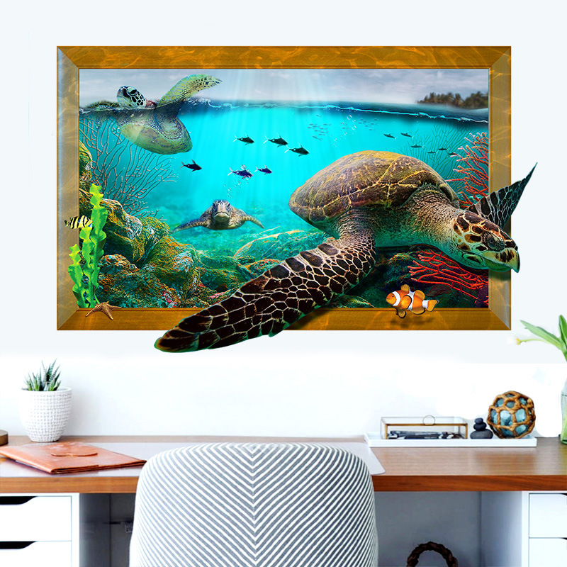 ocean sea turtle wall stickers for kids room children bedroom wall decals window poster wall. Black Bedroom Furniture Sets. Home Design Ideas