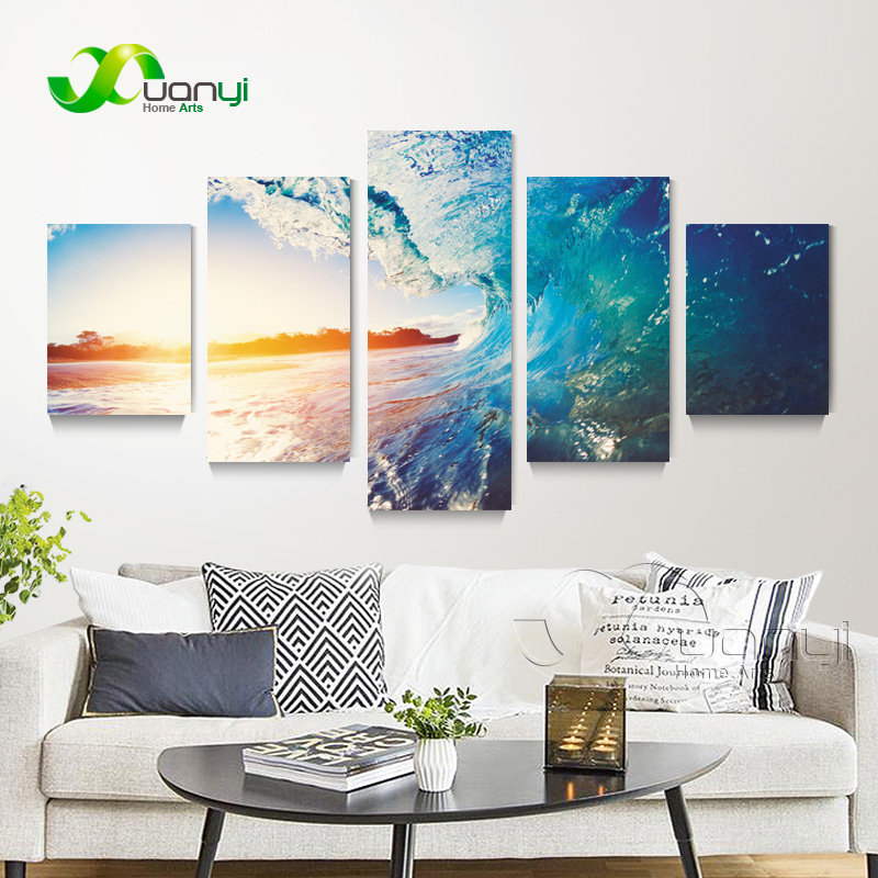 Sea Waves 5 Piece Oil Painting Art High Quality Sea Waves Painitngs Canvas Art Prints Modern Wall Picture For Office Unframed