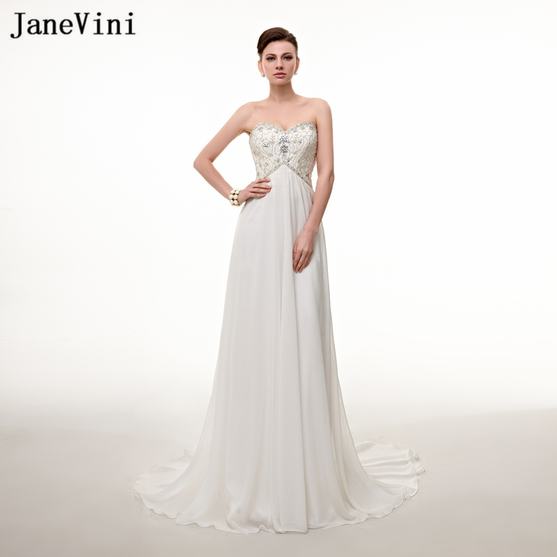 JaneVini 2018 Chiffon Long   Bridesmaid     Dresses   for Wedding Sweetheart A-Line Pleats Beaded Crystal Wedding Party   Dress   Plus Size