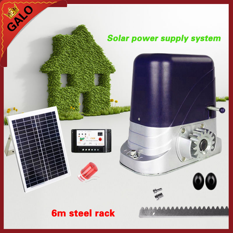 Solar energy operation for 200 500kg door loading Automatic sliding gate opener operator motor with 4m steel gear racks